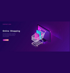 online shopping isometric concept shopping cart vector image