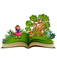 open book with dwarf cartoon on the trees and the vector image