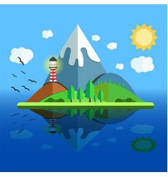 Paradise island with mountain hill tree and birds vector
