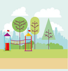 park city playground tree nature vector image