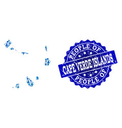People collage of mosaic map of cape verde islands vector