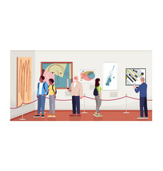 People in contemporary art gallery semi flat vector