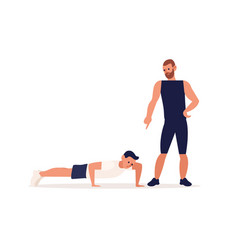 personal male coach and client guy at training vector image