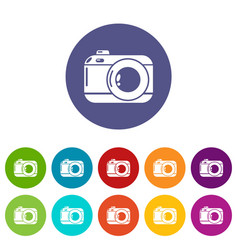 photo camera icon simple black style vector image