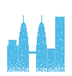 Pixelated blue building of petronas twin tower vector