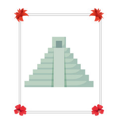 Pyramid structure mexican culture traditional vector