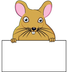 Rat cartoon with blank sign vector image