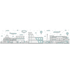 rome skyline line cityscape with famous building vector image