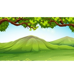 Scene with moutains and trees vector