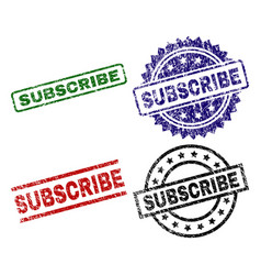 scratched textured subscribe stamp seals vector image
