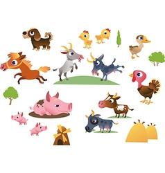 Set cartoon farm animals vector