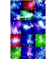 Set of shiny color Christmas backgrounds with vector image