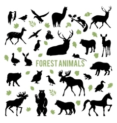 Silhouettes of the forest animals vector