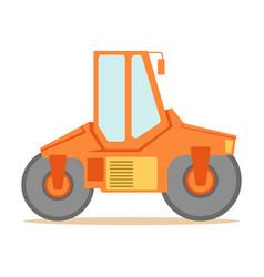 Small orange paver machine part of roadworks vector