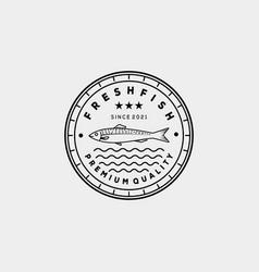 Smoked grilled fish restaurant line art logo vector