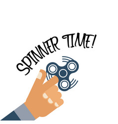 Spinner time background with flat hand holding vector