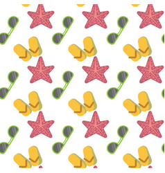 star fish and sunglasses seamless pattern vacation vector image