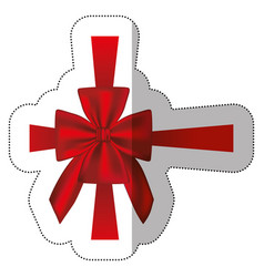 Sticker elegant silk red ribbon and bow wrapping vector