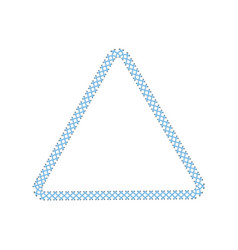 stitched border or sewing seams triangle frame the vector image