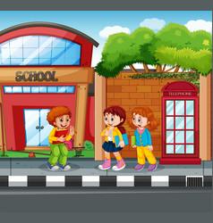 student in front school vector image