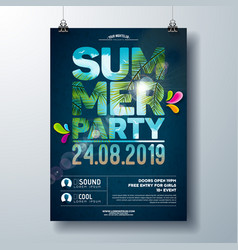 summer party flyer design with palm trees and vector image