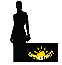 summer party with girl vector image