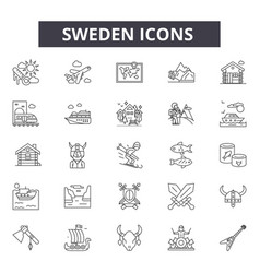 Sweden line icons signs set linear vector