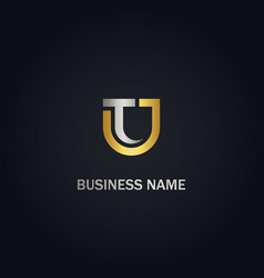 t u initial business company gold logo vector image