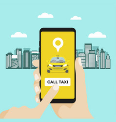 taxi service concept hand with smartphone vector image