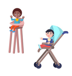 Toddlers in baby carriage and highchair vector
