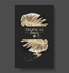 Tropic banana leaf black gold banner vector