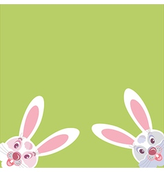 Two funny Bunny peeking from the corner vector