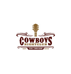 Vintage guitar cowboy western country music logo vector