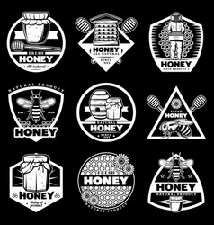 Vintage white honey emblems set vector