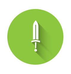 White medieval sword icon isolated with long vector