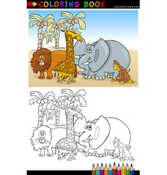 Wild Safari Animals for Coloring vector image