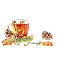 Winter cup tea with cinnamon and orange slices vector