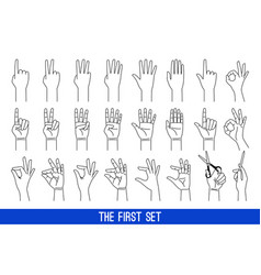woman hands gestures outline vector image