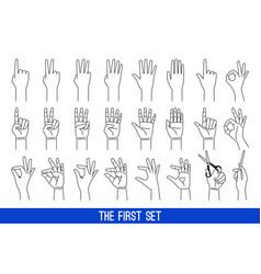 woman hands gestures outline vector image