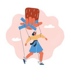 Woman puppet marionette vector