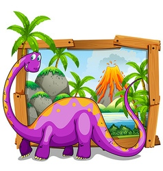 Wooden frame with purple dinosaure in jungle vector image