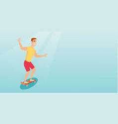 Young caucasian man riding skateboard vector