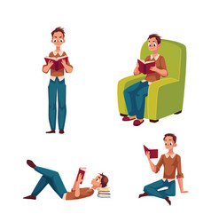 Young man boy reading in standing sitting lying vector