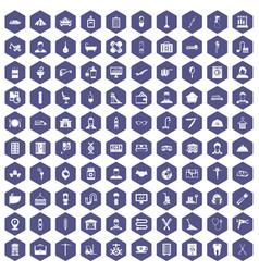 100 craft icons hexagon purple vector