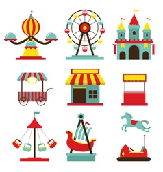 Amusement Park Objects Flat Icons Set vector image vector image