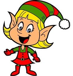 Girl Christmas Elf vector image