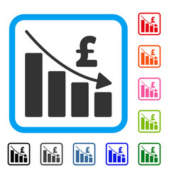 pound recession bar chart framed icon vector image