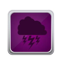 Purple emblem cloud ray icon vector