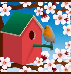 bird near birdhouse blossoming spring tree vector image