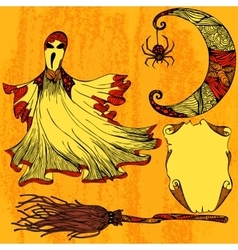 Halloween set with ghost moon broom scroll vector image vector image